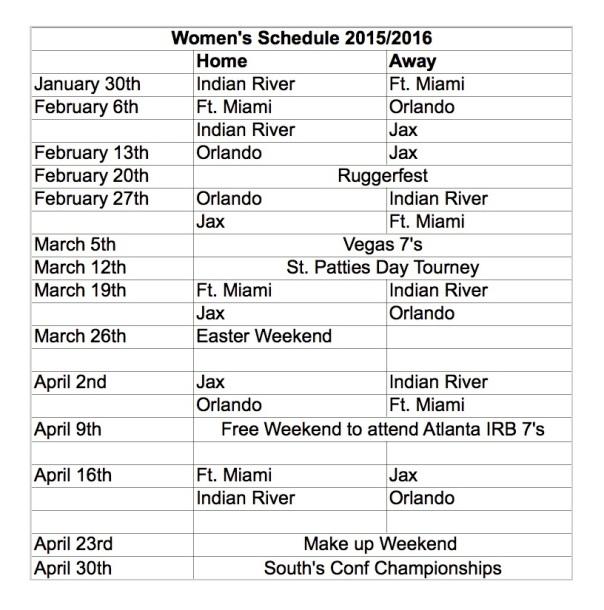 Women's 2015-2016 Schedule